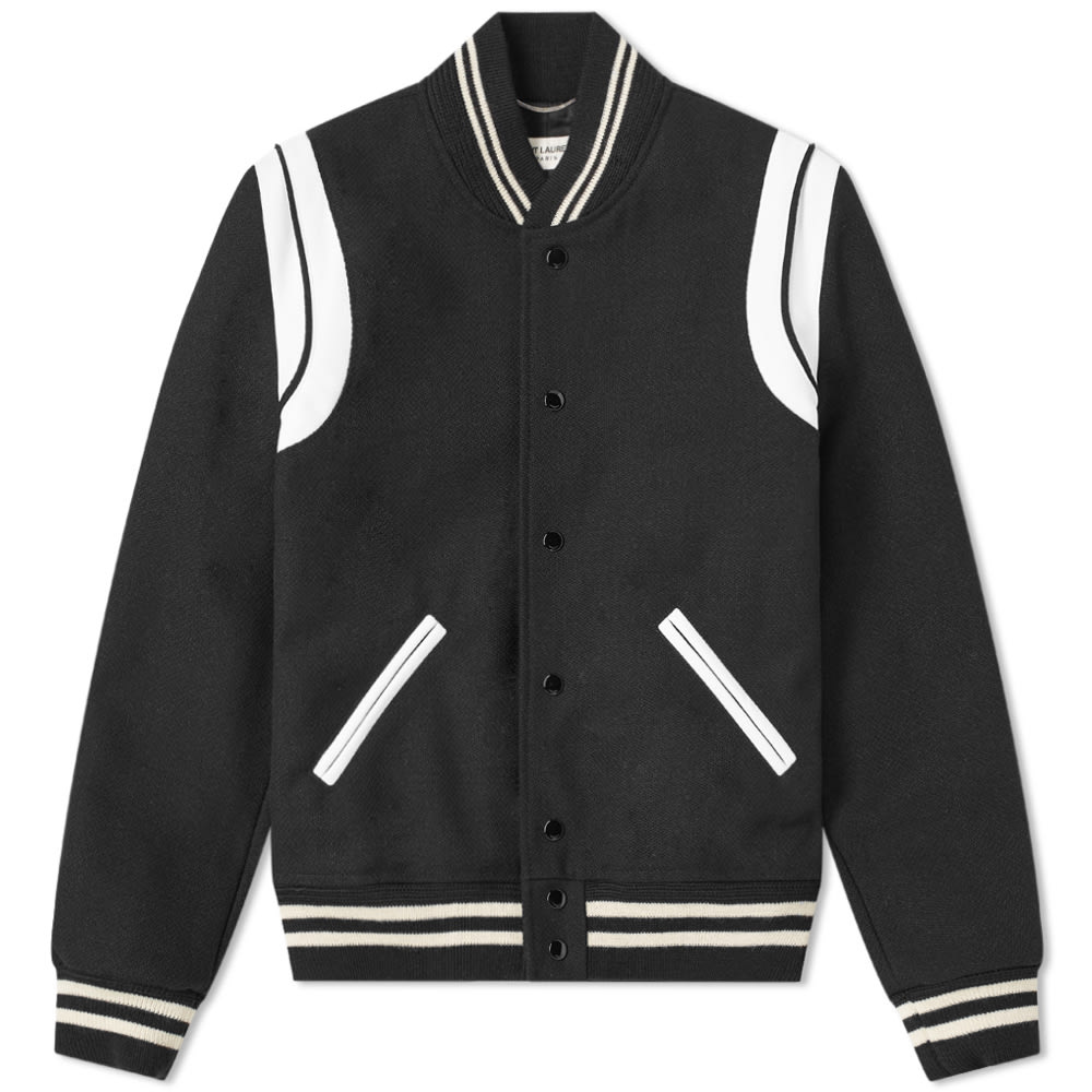 b75a13b61de Saint Laurent Teddy Jacket In Black Virgin Wool And Off-White Leather In  1070 Black