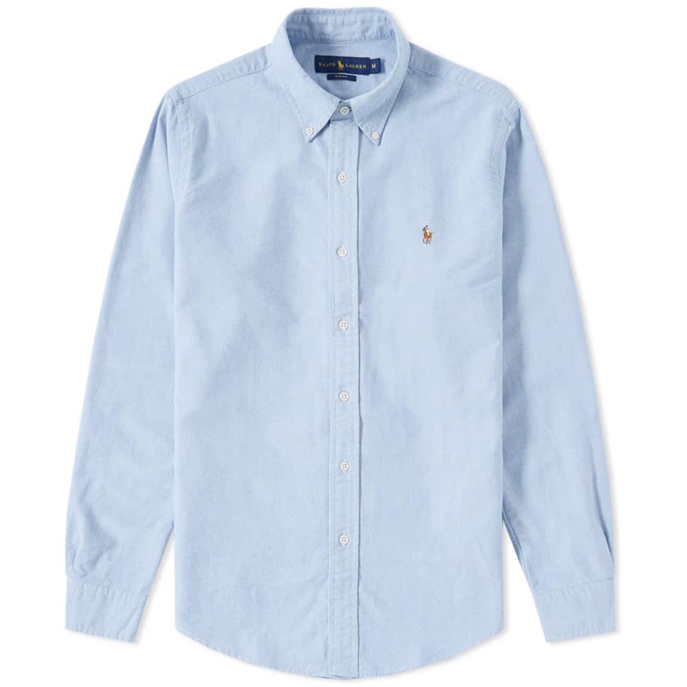 Polo ralph lauren slim fit button down oxford shirt blue for Slim button down shirt