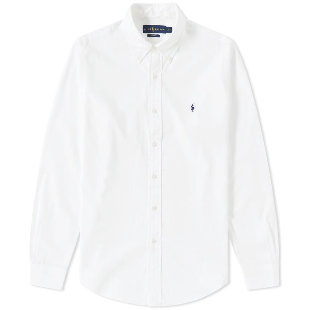 b89f54a3 Polo Ralph Lauren Slim Fit Button Down Poplin Shirt White | END.