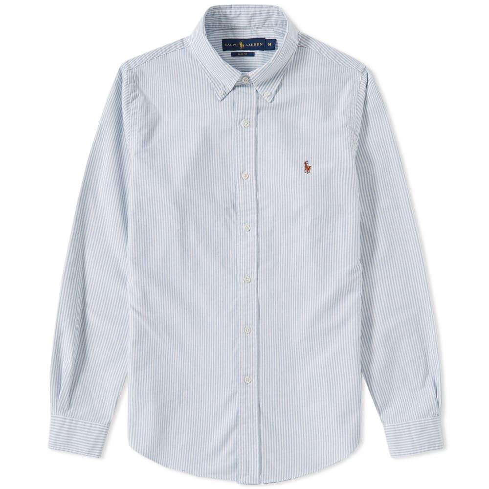 9d1ec30ca3be Polo Ralph Lauren Slim Fit Button Down Stripe Oxford Shirt Blue & White |  END.