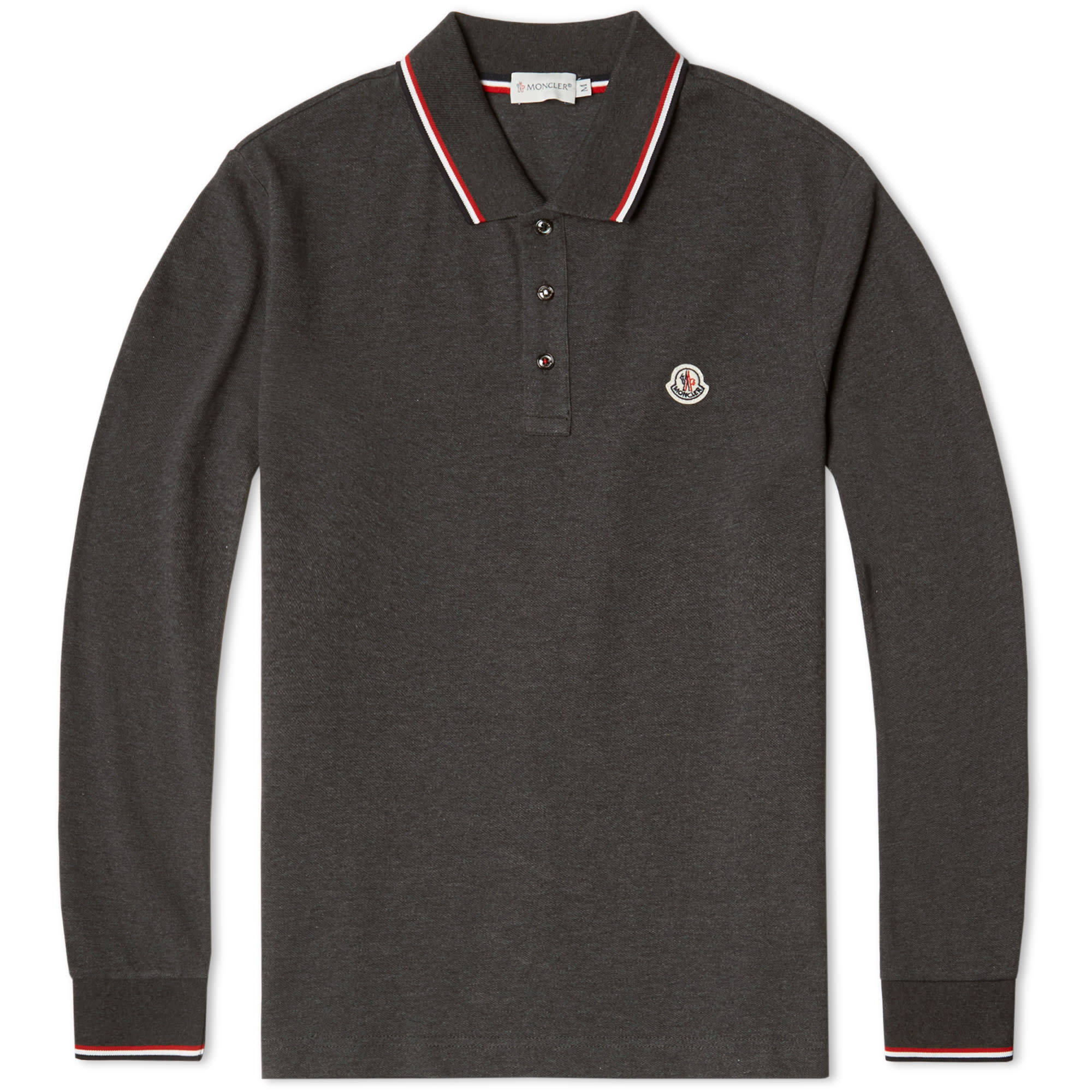 moncler long sleeve slim fit pique polo charcoal. Black Bedroom Furniture Sets. Home Design Ideas