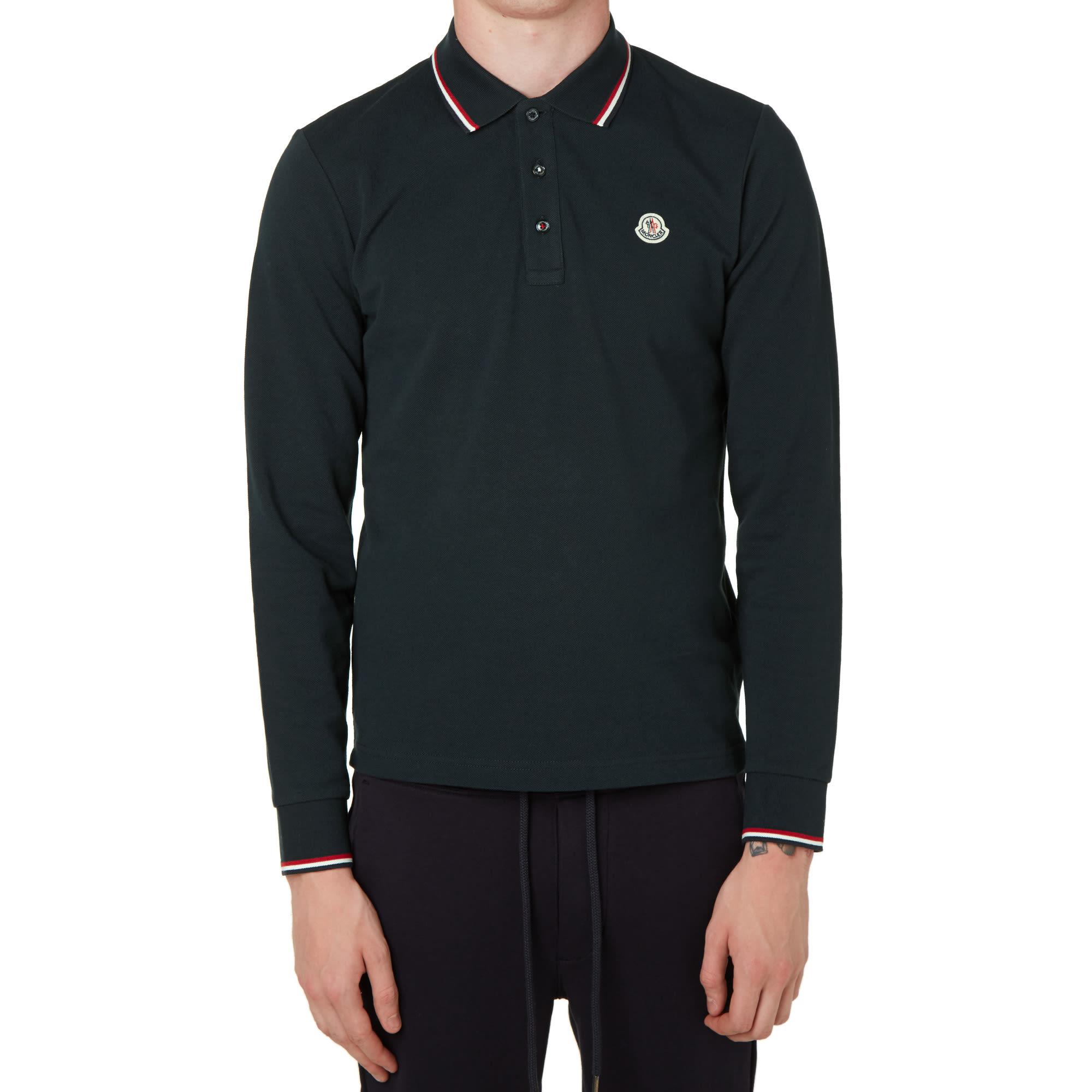 8b2b6ccd5 Moncler Long Sleeve Slim Fit Pique Polo