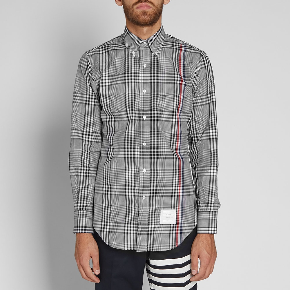 279088030a3 Thom Browne Stripe Check Shirt Black   White
