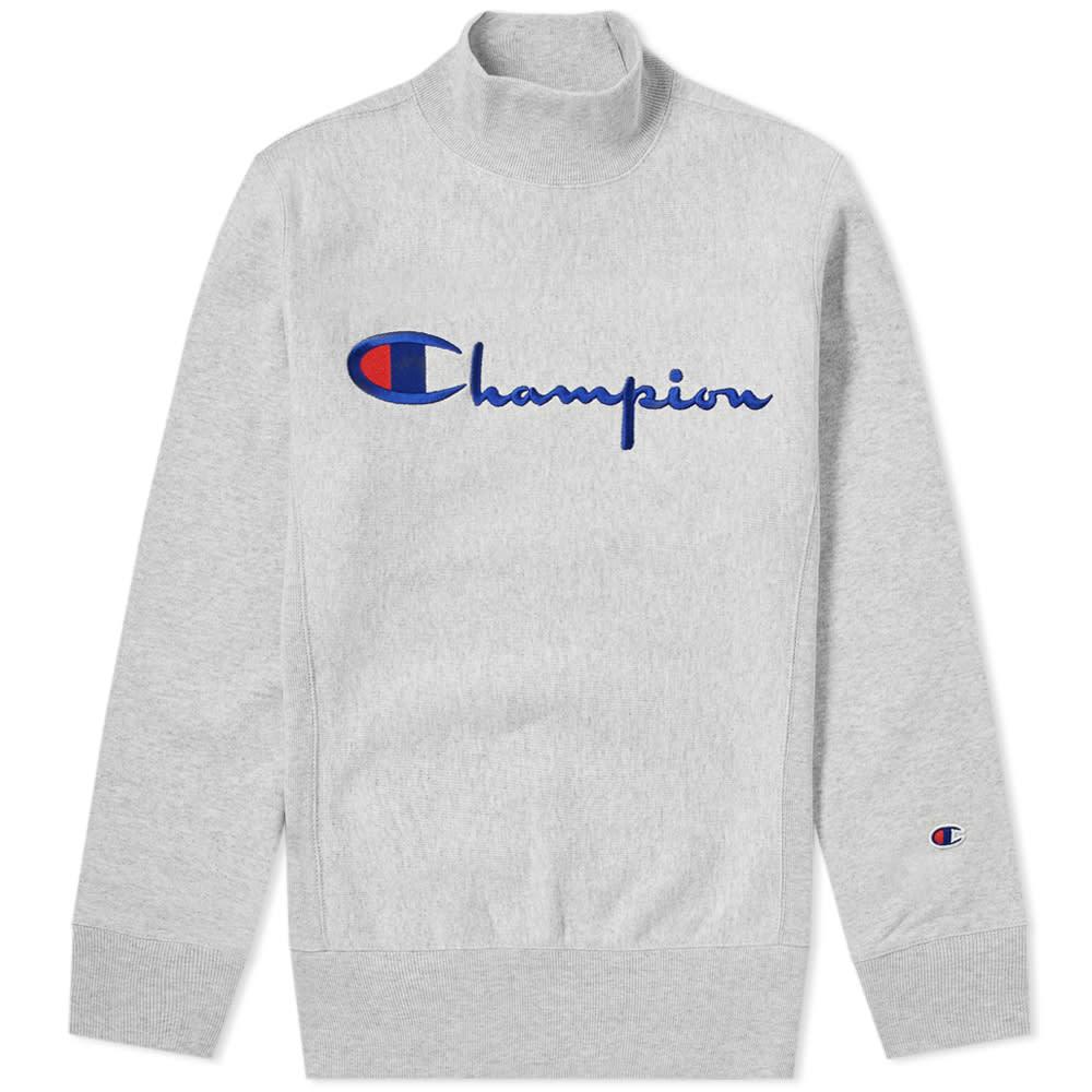5aeeb9d44dfc Champion Reverse Weave Mock Neck Script Logo Sweat Grey Melange