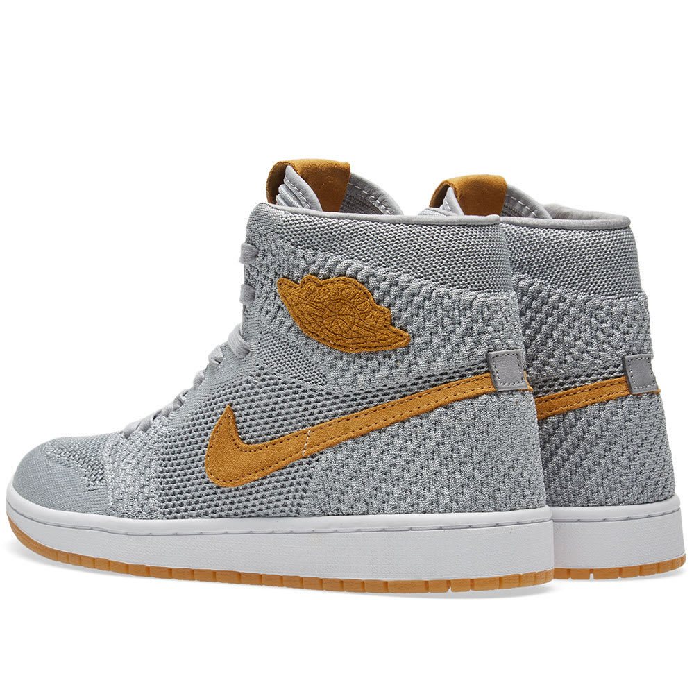 b83c99a720eb1 Air Jordan 1 Retro High Flyknit Wolf Grey   Golden Harvest