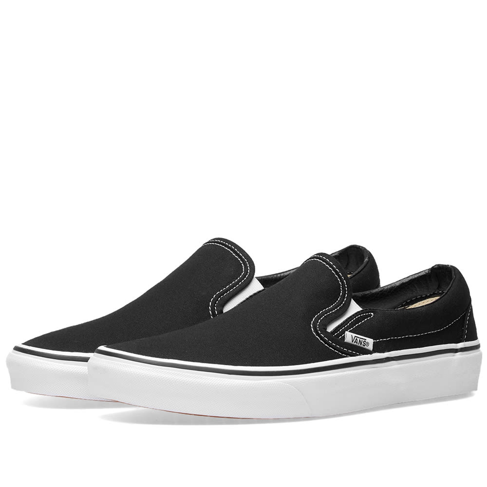 Classic Canvas Platform Slip-On Trainers in Black