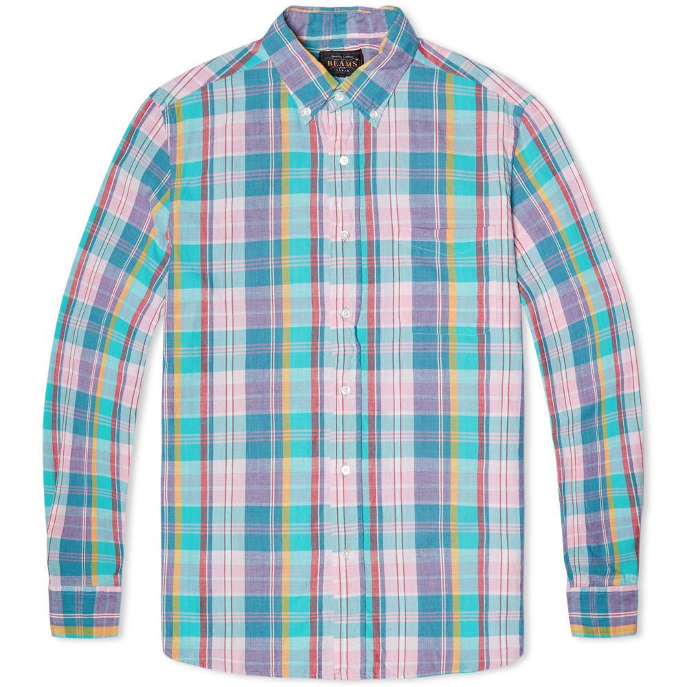 Beams Plus Madras Shirt (Pink & Mint)