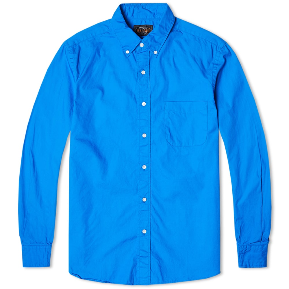 Beams plus button down broadcloth shirt royal blue for Royals button up shirt