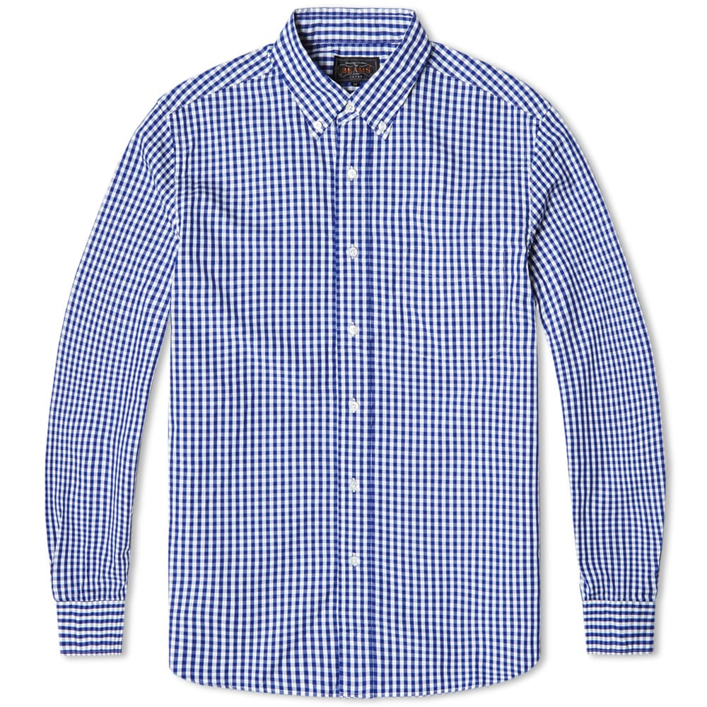 Beams plus button down gingham shirt blue for Blue gingham button down shirt