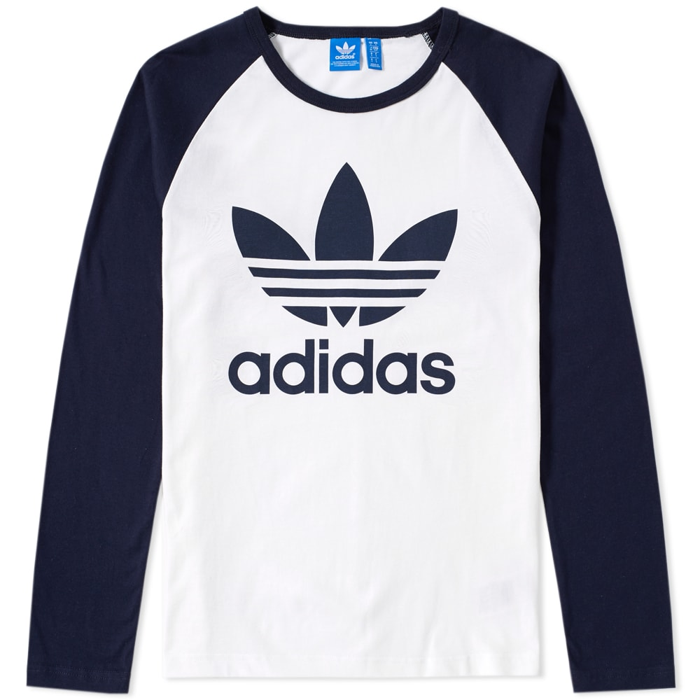 Adidas original trefoil long sleeve tee white legend ink for Adidas long sleeve t shirt with trefoil logo