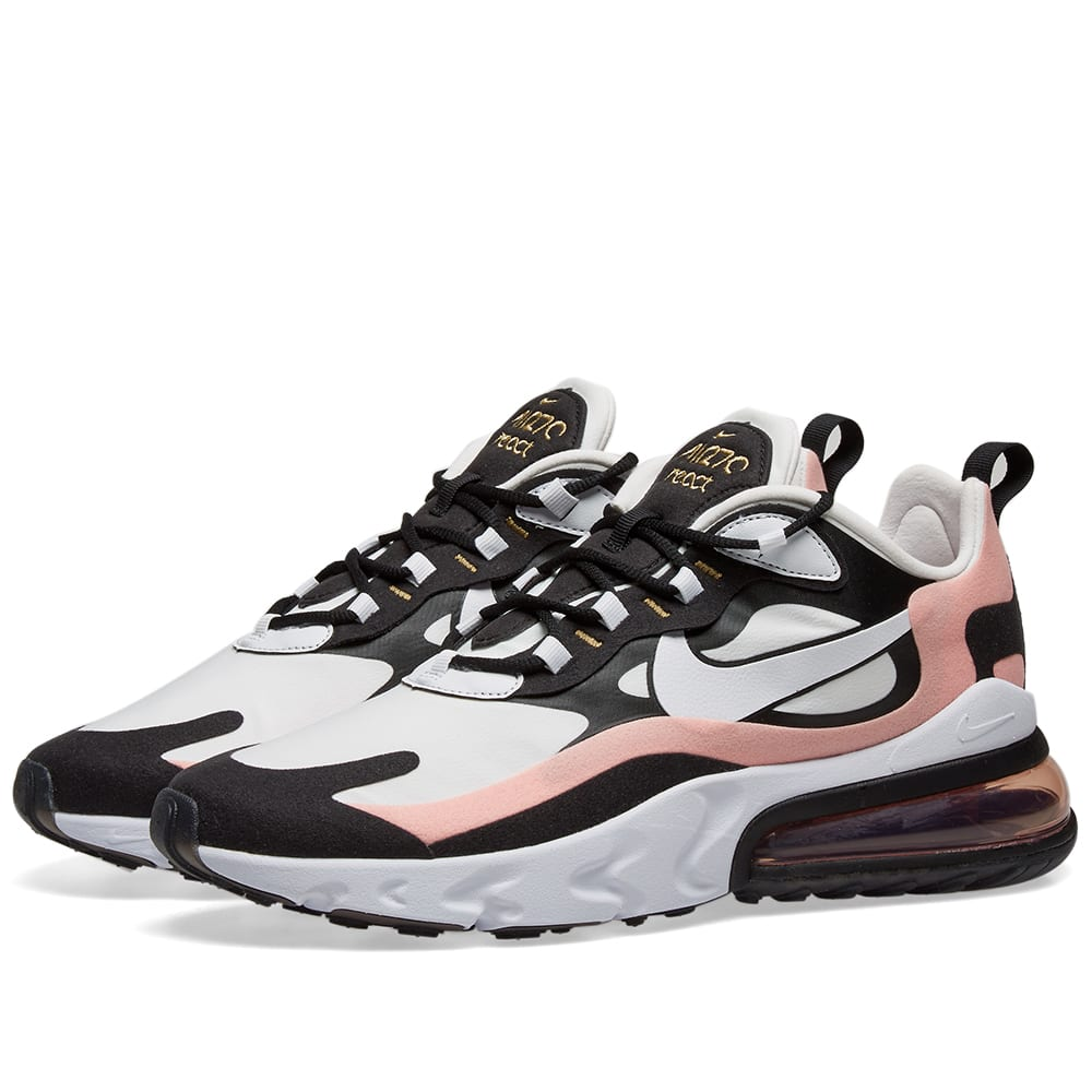 Nike Air Max 270 React W Black White Coral Red End