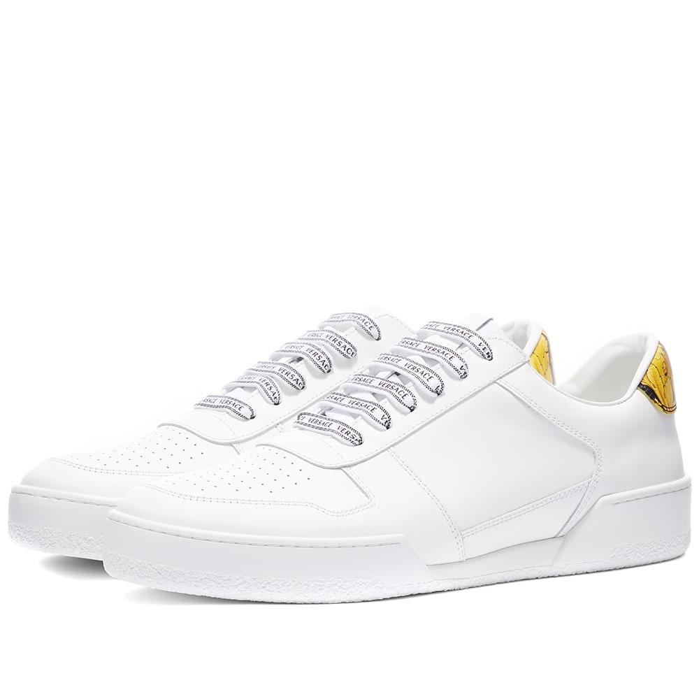 Versace Gold Heel Tab Tennis Sneaker