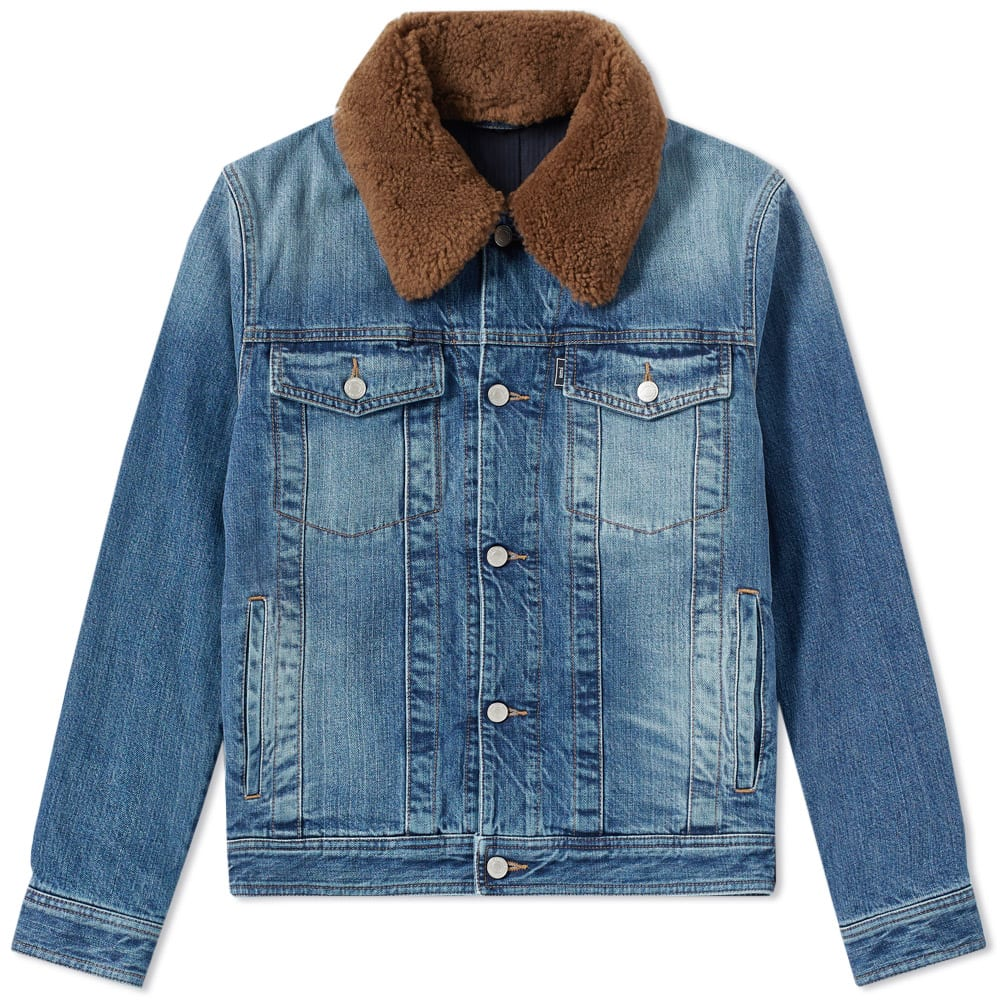 Ami Alexandre Mattiussi  AMI WOOL COLLAR DENIM JACKET