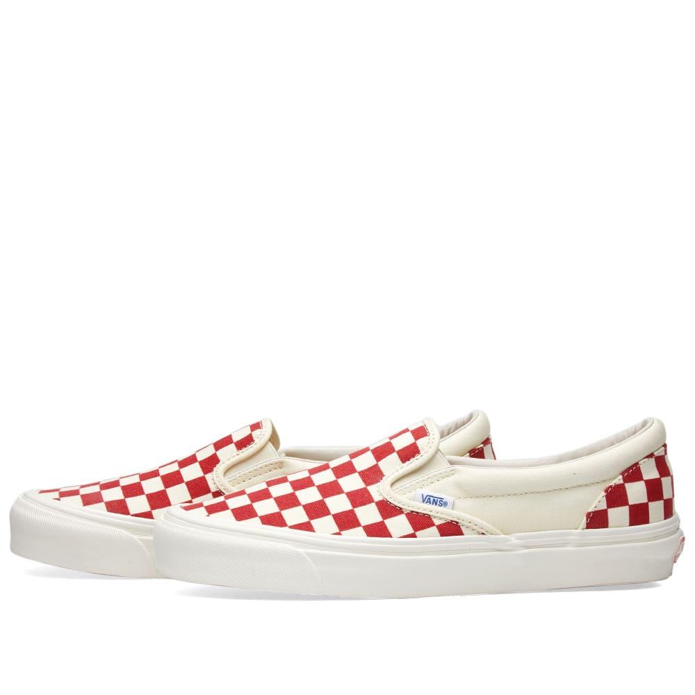 vans vault og classic slip on lx white & red checkerboard