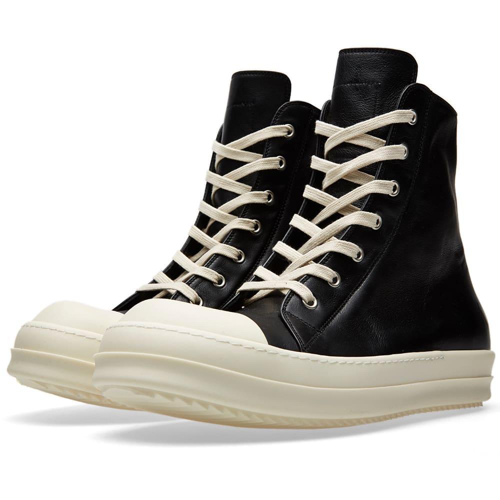 rick owens high top sneaker black white. Black Bedroom Furniture Sets. Home Design Ideas