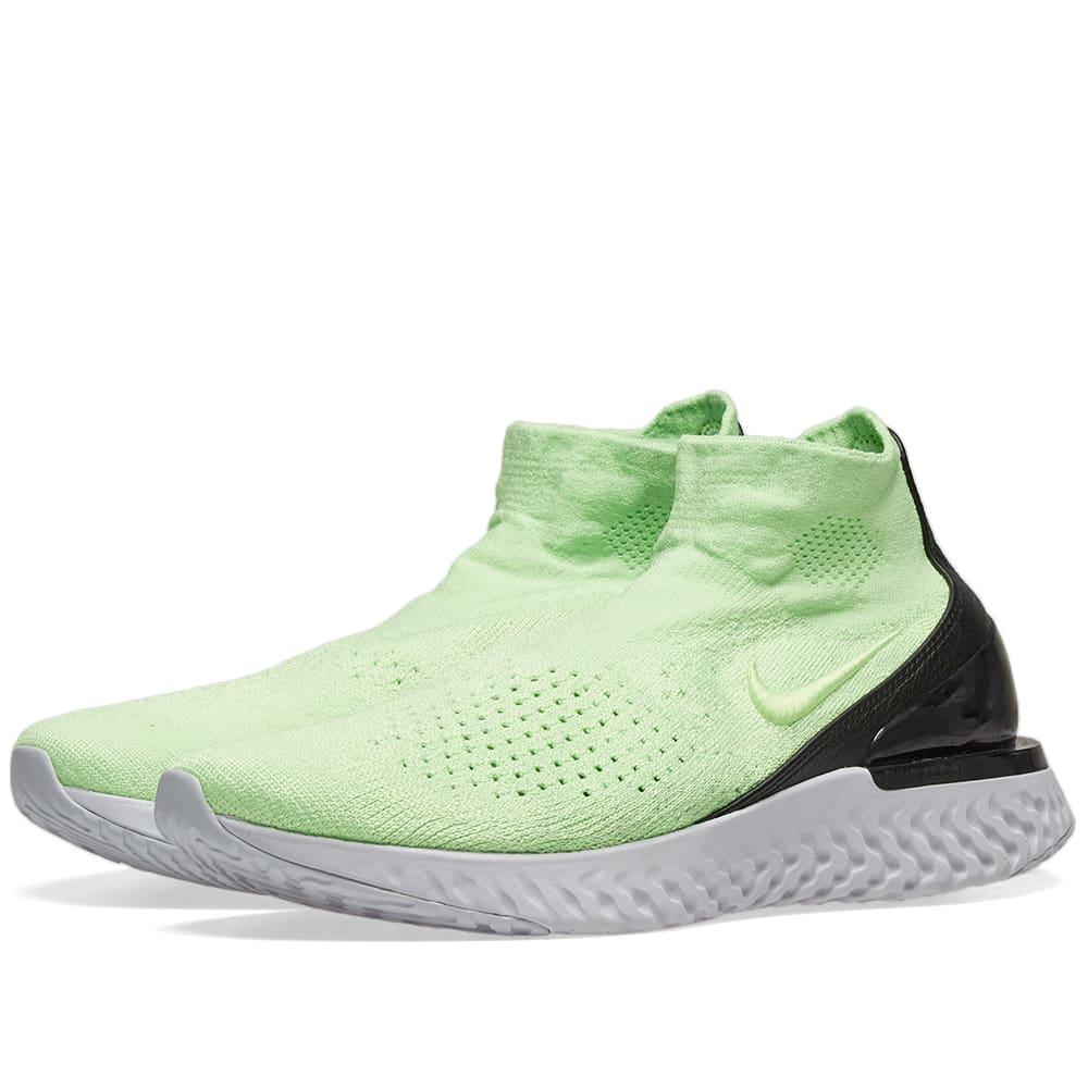 9c0ed0b72839a Nike Rise React Flyknit Lime Blast