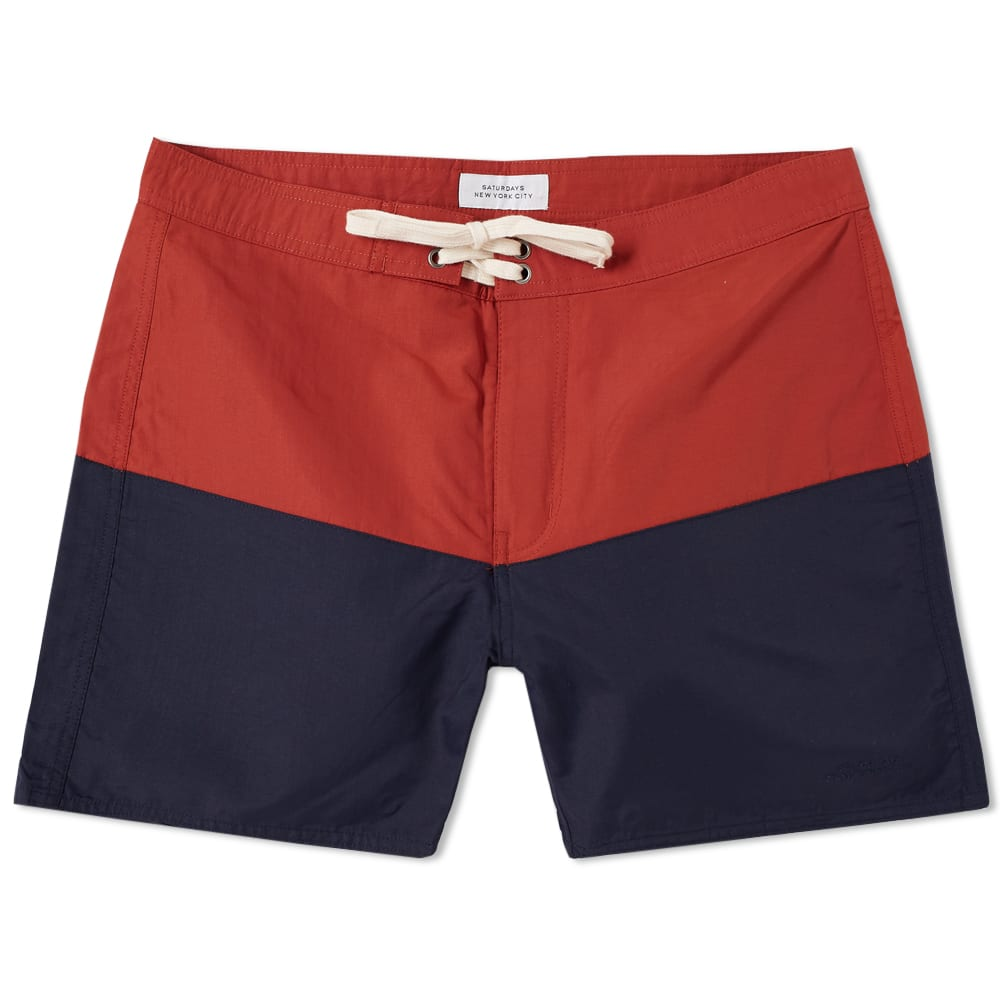 SATURDAYS SURF NYC Saturdays Nyc Red And Navy Ennis Board Shorts in M8542Bric/M