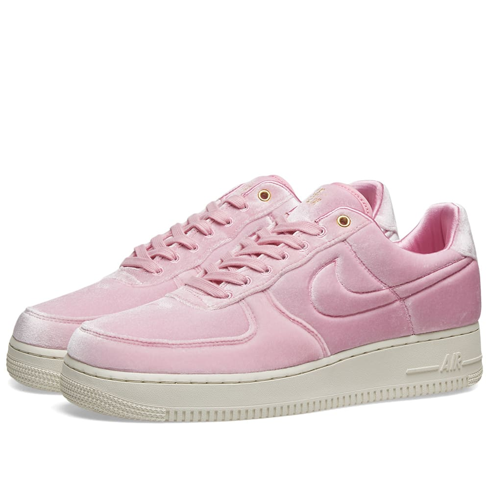 reputable site 73746 25b86 Nike Air Force 1  07 Premium 3  Velour  Pink Rise, Sail   Gold   END.