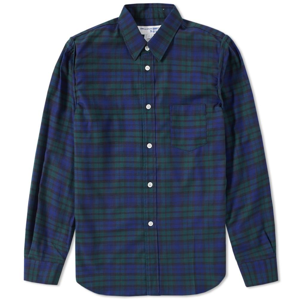 Comme des garcons shirt boy tartan shirt blue green for Blue and green tartan shirt