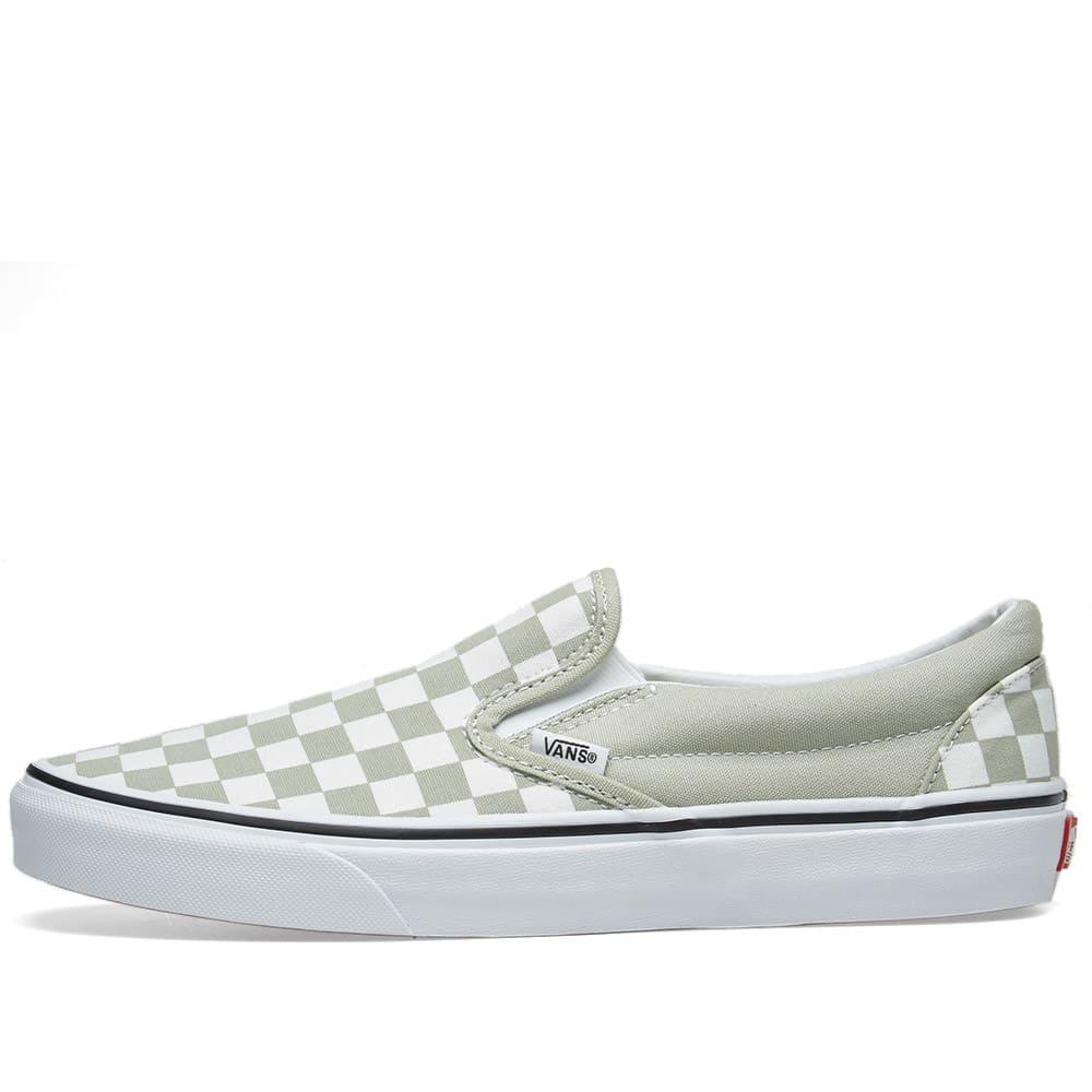 8dd08f0b0a79 Vans Classic Slip On Checkerboard Desert Sage   True White