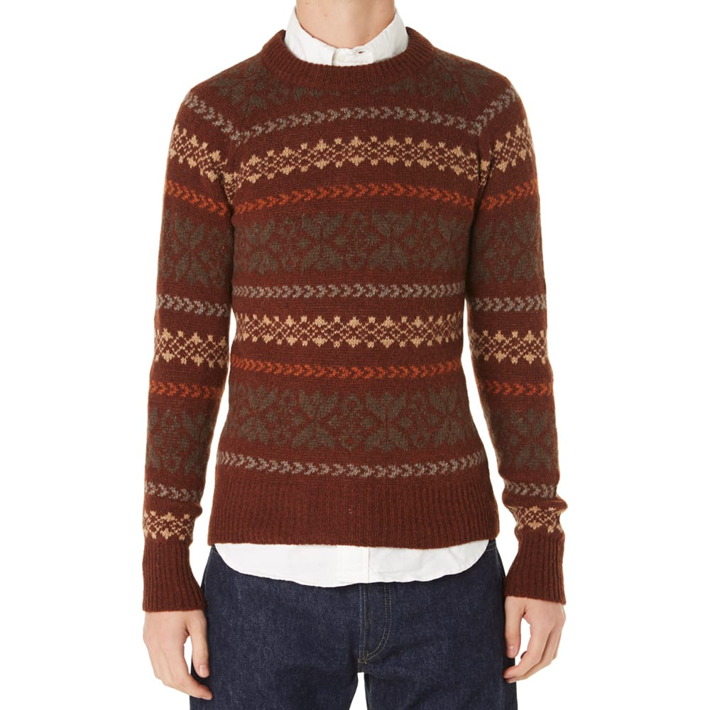 7bccbfb601a0 Nigel Cabourn Fair Isle Crew Knit Ember