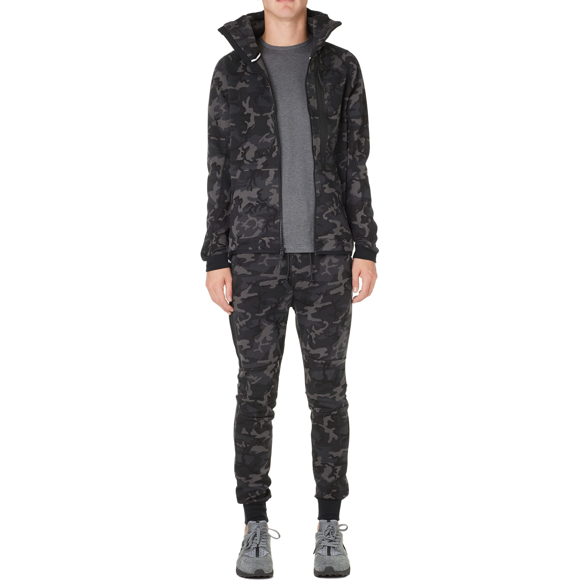 08d1b73df3b60 Nike Tech Fleece Camo AW77 Hoody Medium Ash & Black | END.