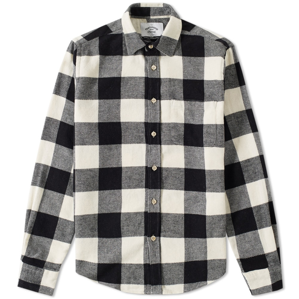 Portuguese flannel buffalo plaid shirt black white for Buffalo check flannel shirt jacket