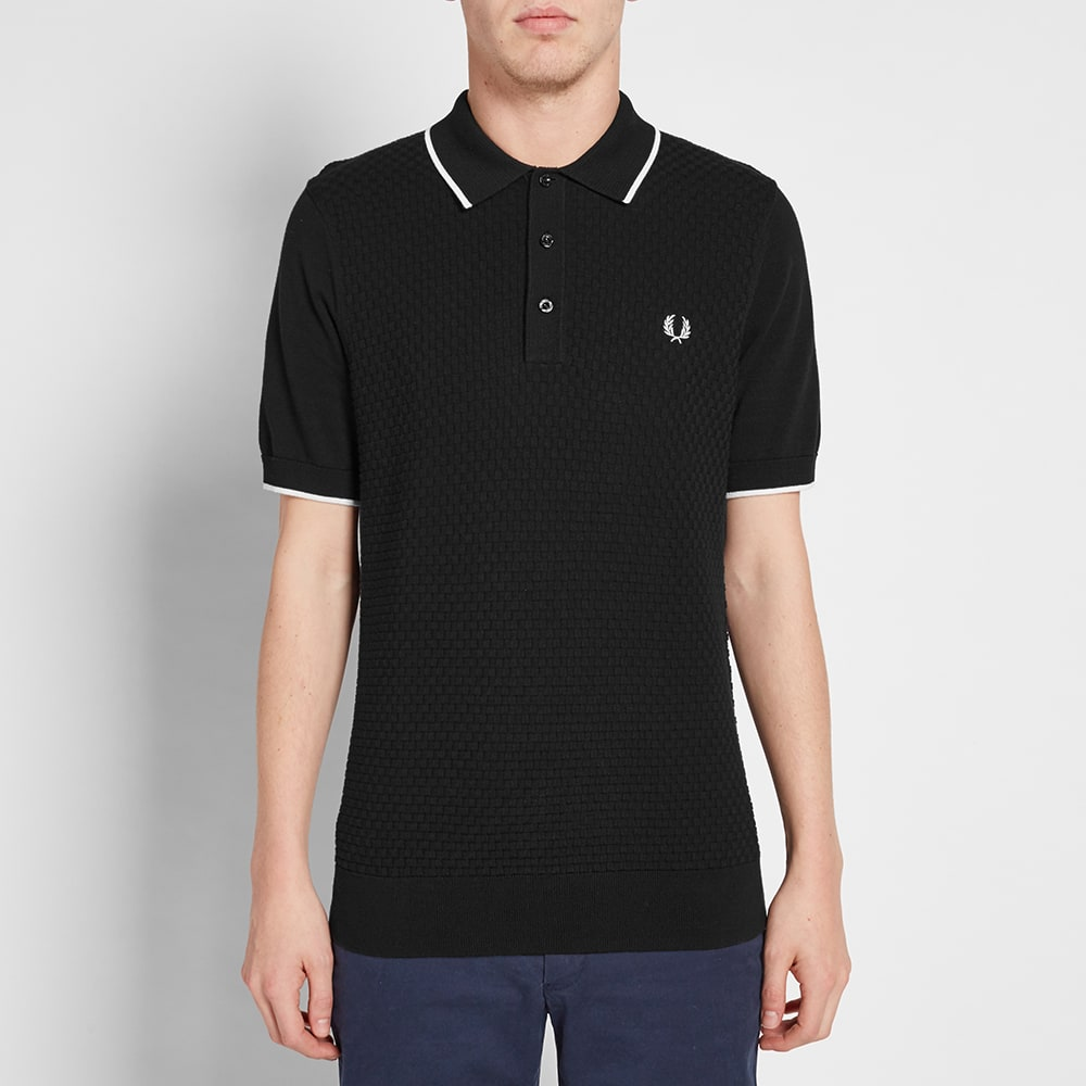 fred perry checkerboard knit polo black. Black Bedroom Furniture Sets. Home Design Ideas