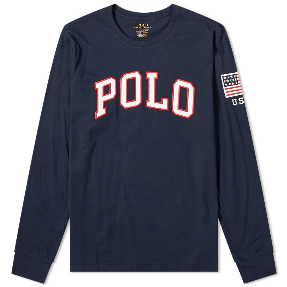 2e0eaf135 Polo Ralph Lauren Long Sleeve USA Logo Tee Aviator Navy | END.