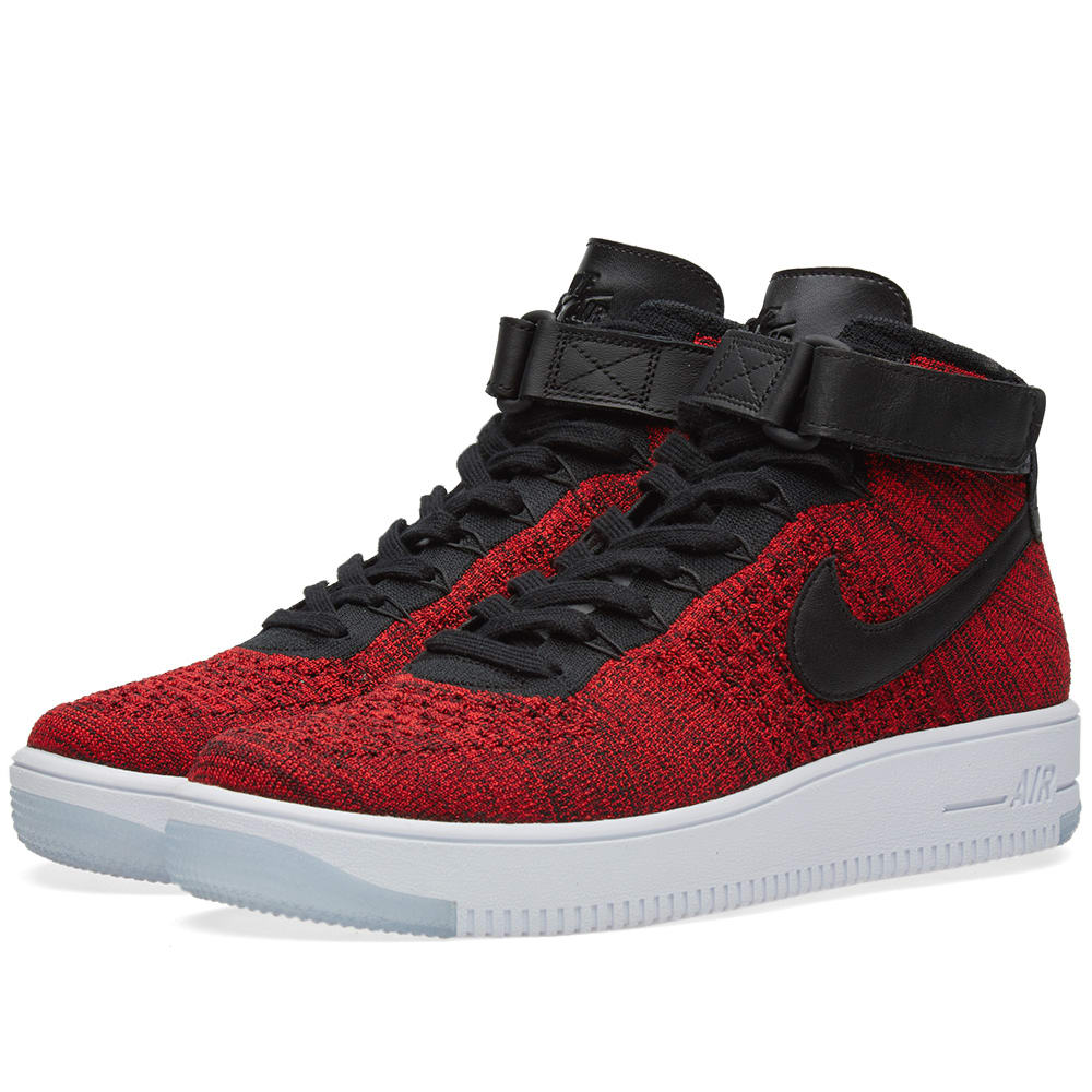 buy online 6d737 46601 Nike Air Force 1 Flyknit. University Red   Black
