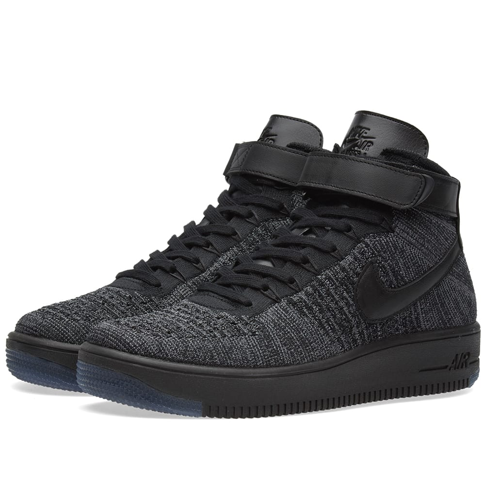 nike air force 1 flyknit dark grey black. Black Bedroom Furniture Sets. Home Design Ideas