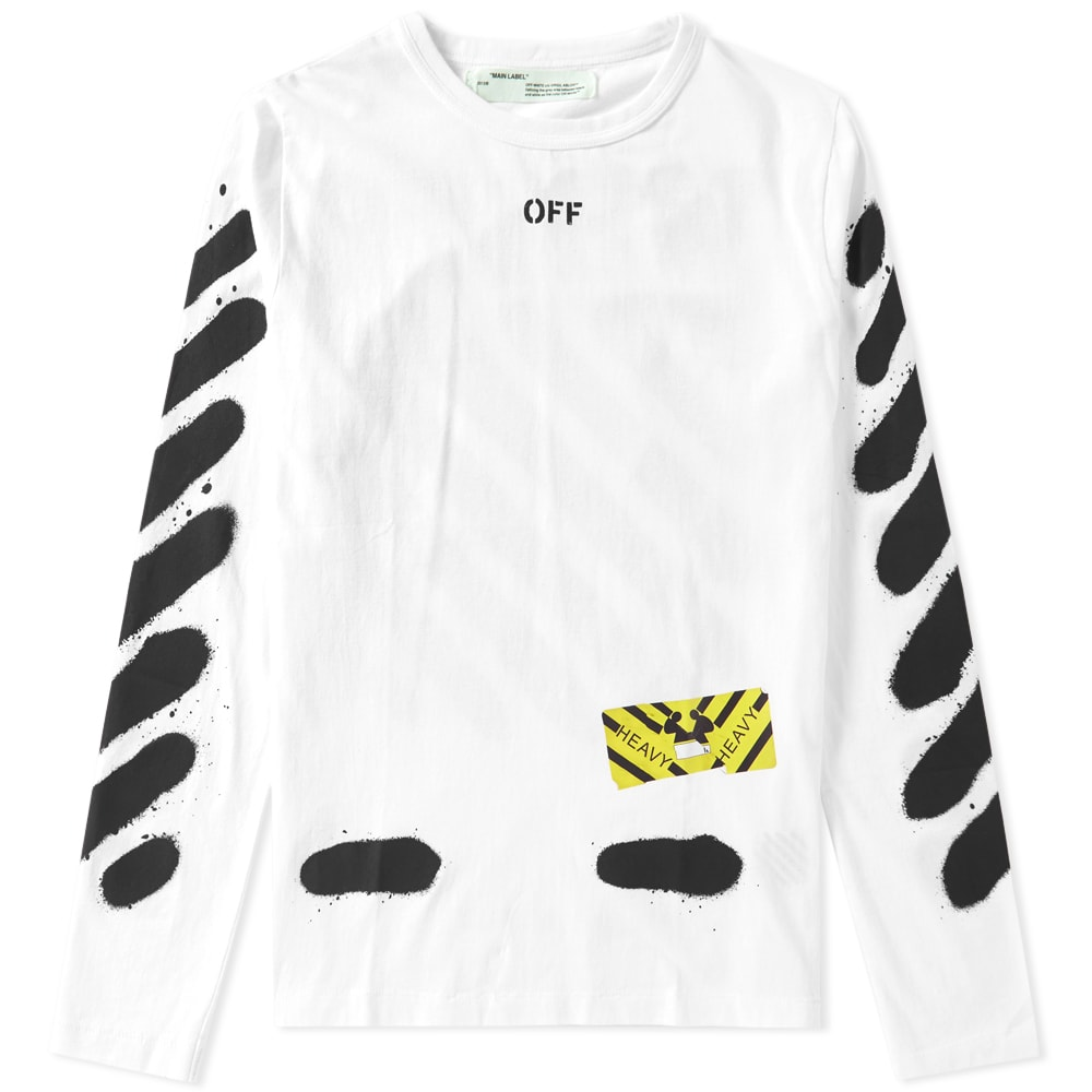 d0e0e252f Off-White Diagonals Spray Long Sleeve Tee White & Black   END.
