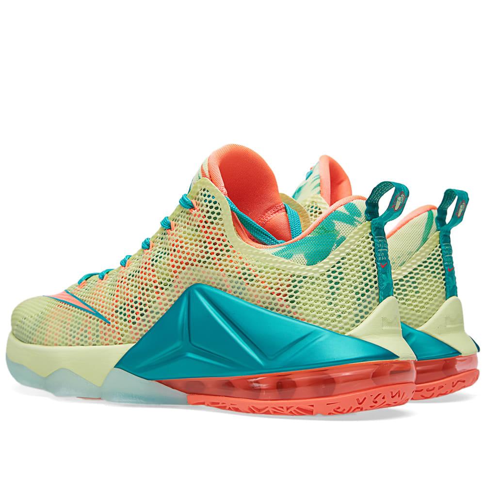 new products 0e525 b48ad Nike LeBron XII Low Premium  LeBronold Palmer  White Lime   Bring Mango    END.