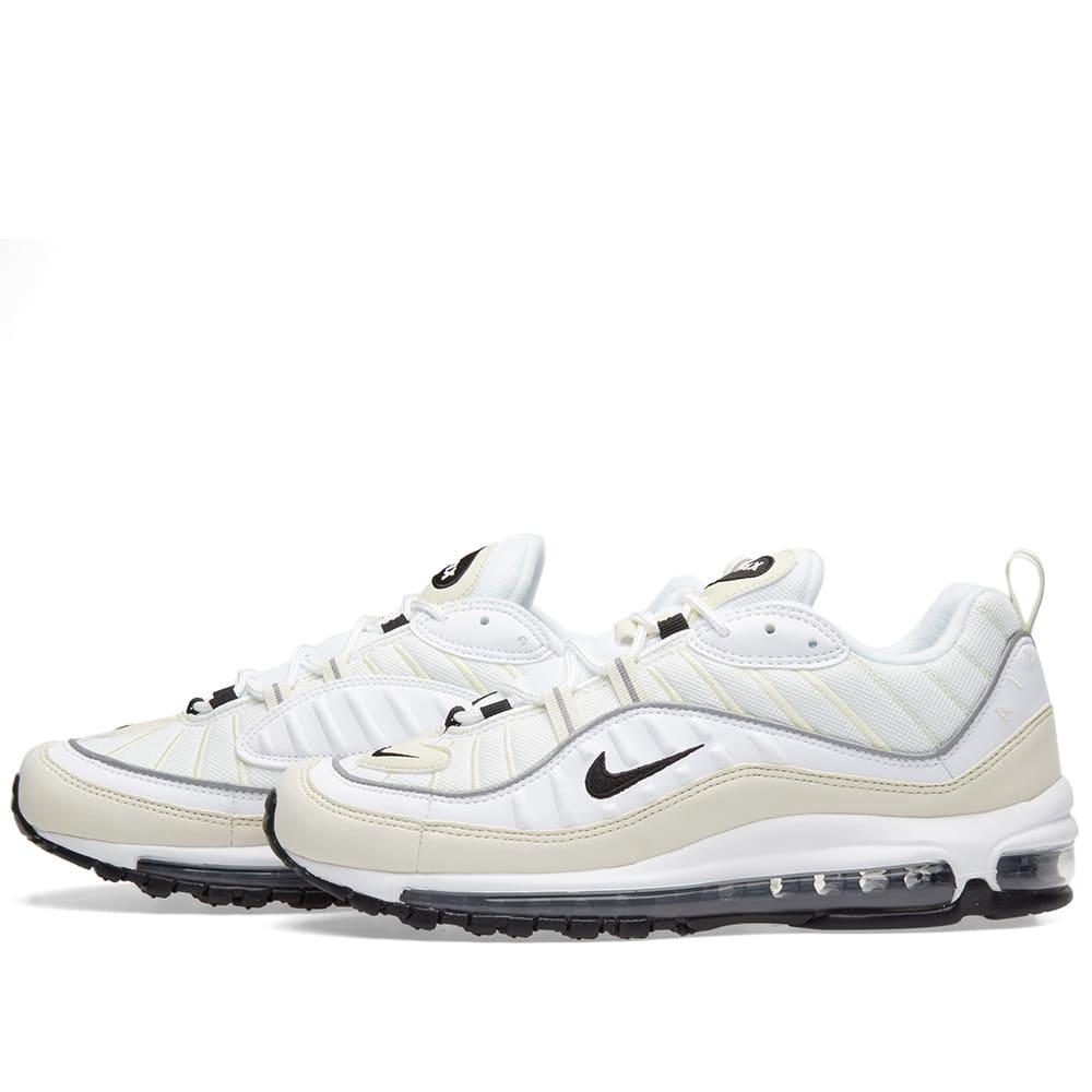 the best attitude 1531b d36a4 Nike Air Max 98 W White, Black, Fossil   Silver   END.