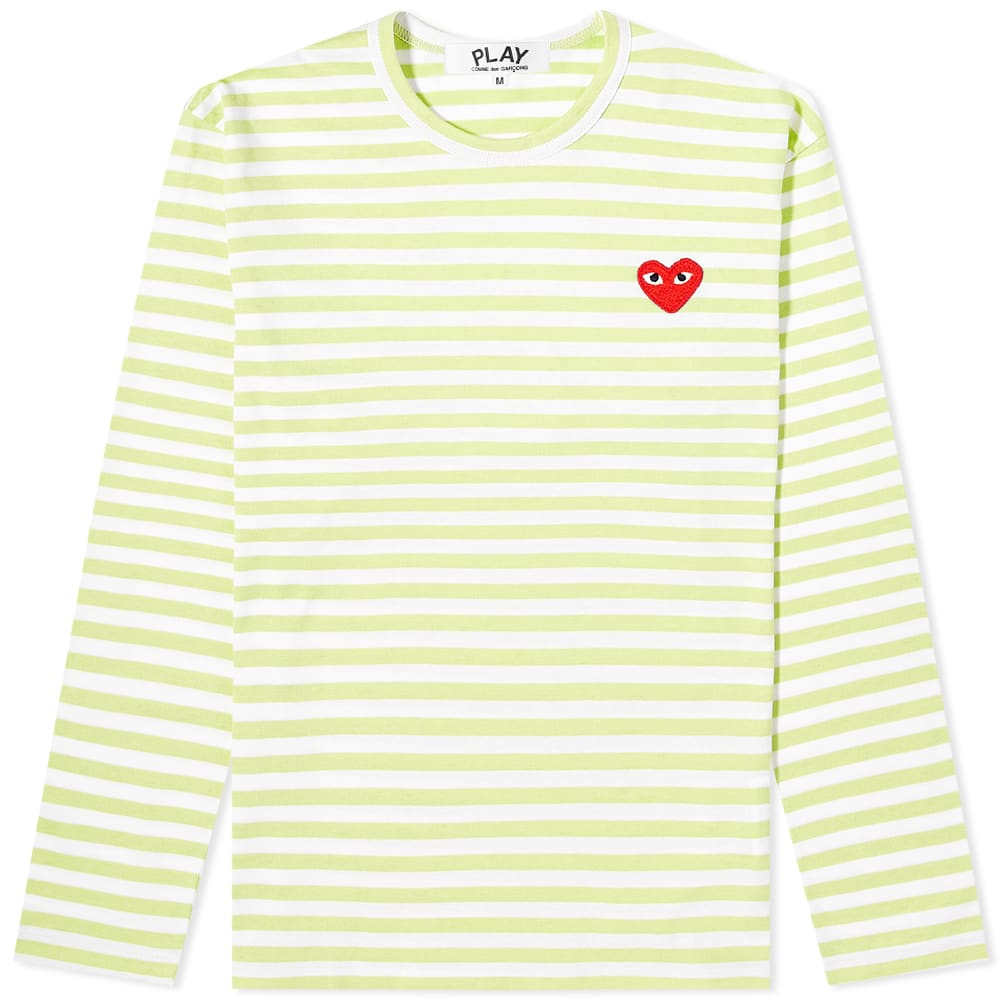Comme des Garcons Play Long Sleeve Red Heart Stripe Tee