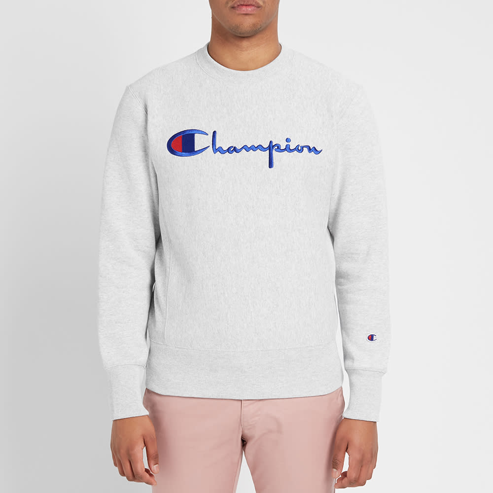 69f0385b Champion Reverse Weave Script Logo Crew Sweat Grey Melange | END.