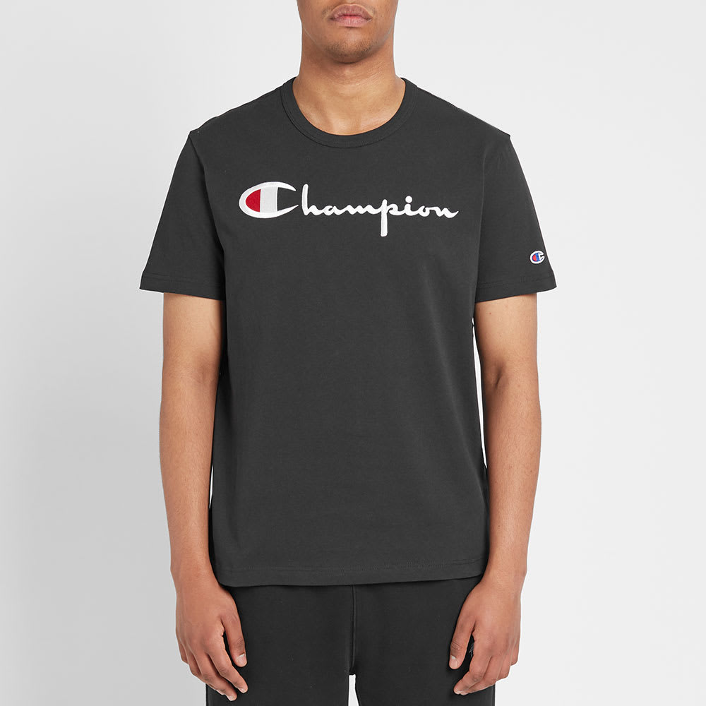 Black Champion Reverse Weave Script Tee