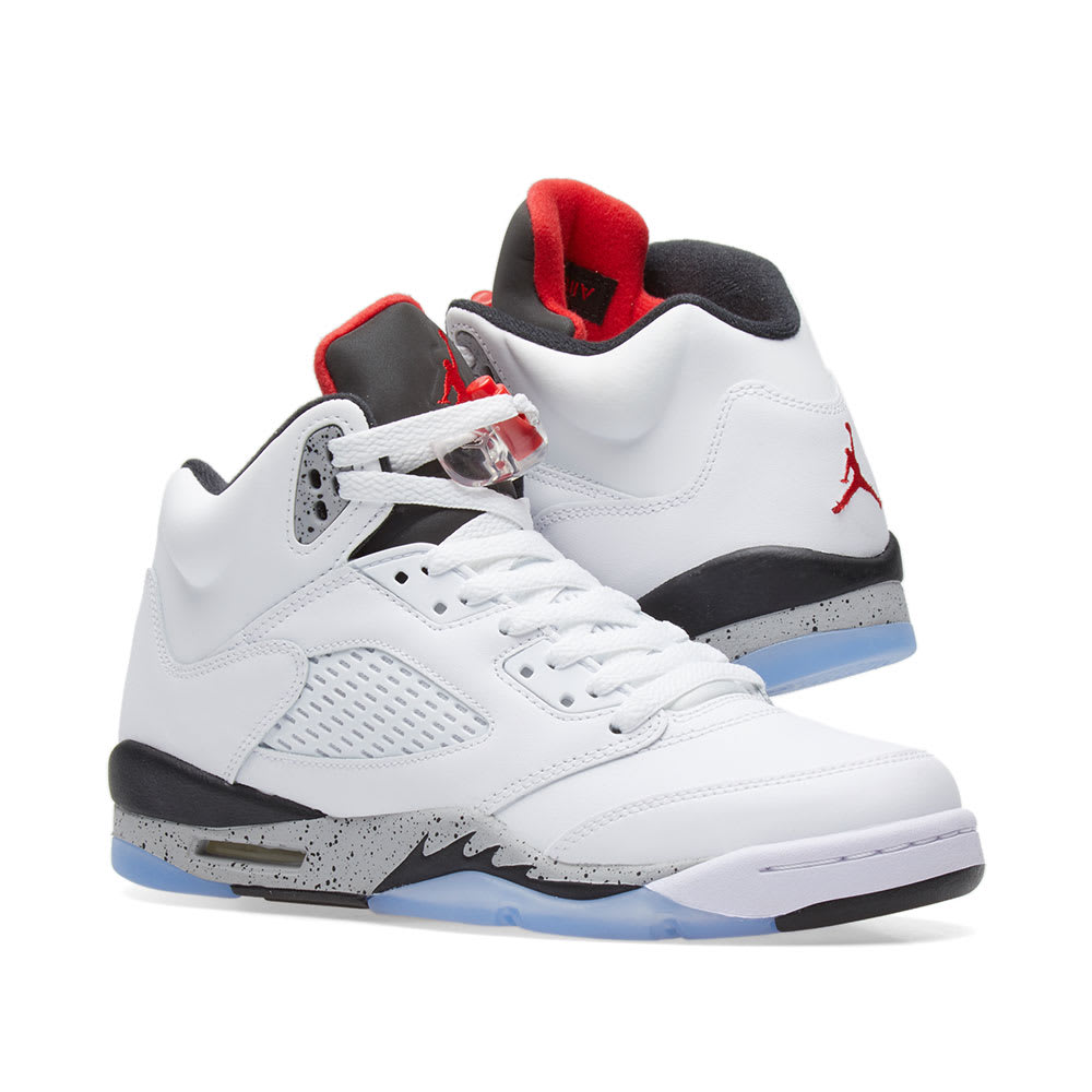 7220df78d6f5 Nike Air Jordan 5 Retro GS White, University Red & Black | END.