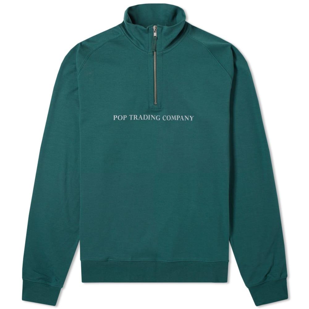 Pop Trading Company Logo Half Zip Sweat in Green