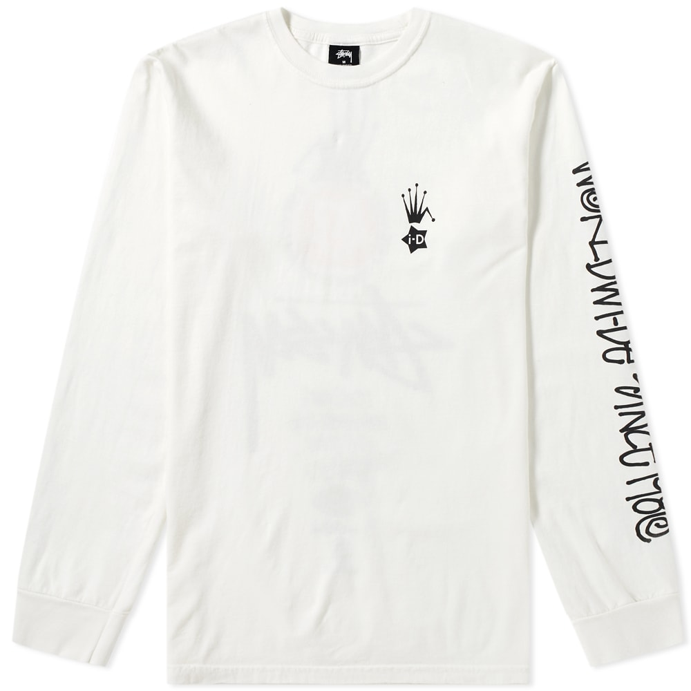 I-D X Stussy Long Sleeve Heritage Tee in Neutrals