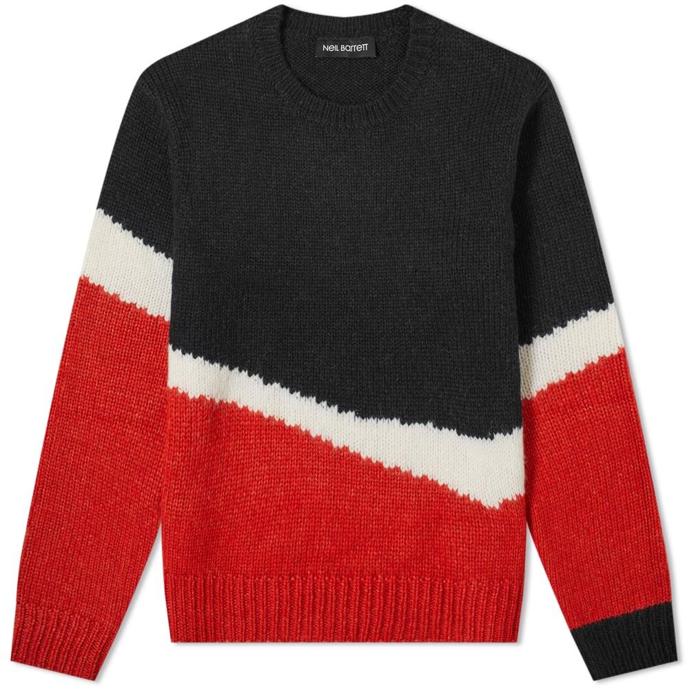 Neil Barrett Mohair Mix Stripe Panel Knit by Neil Barrett