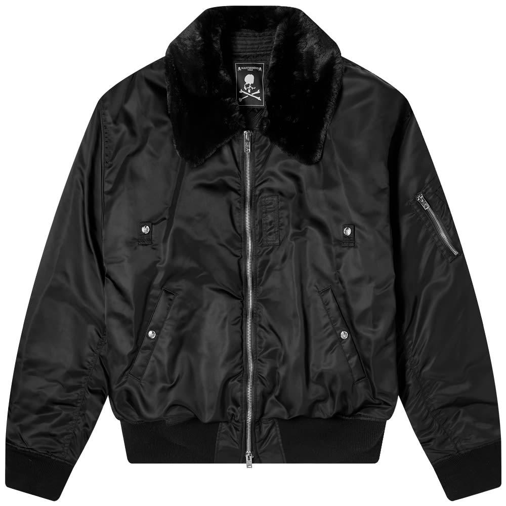 MASTERMIND WORLD Nylon Faux Fur Aviator Jacket