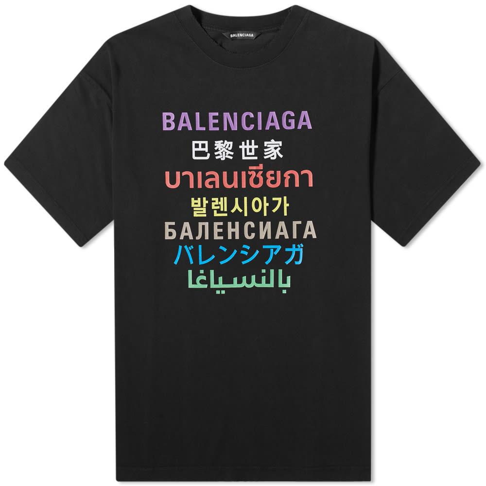 Balenciaga Cottons Balenciaga Languages Logo Tee
