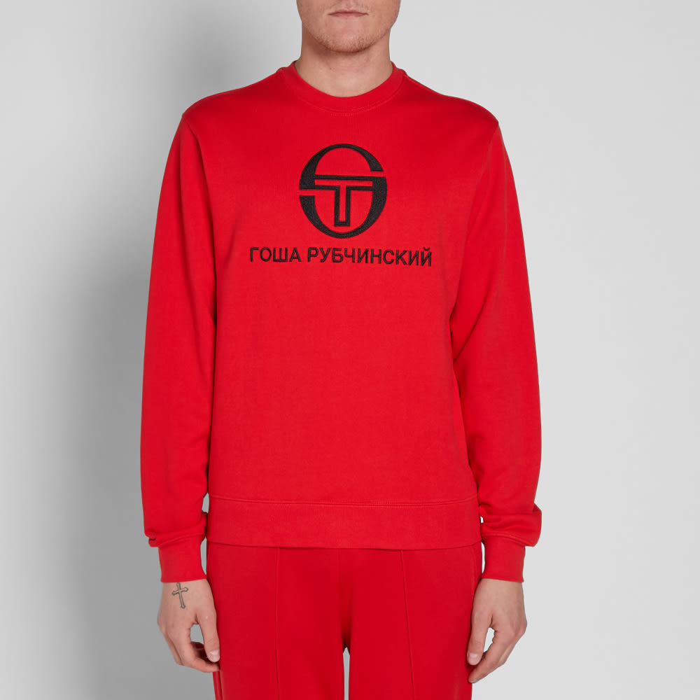 gosha rubchinskiy x sergio tacchini logo crew sweat red. Black Bedroom Furniture Sets. Home Design Ideas