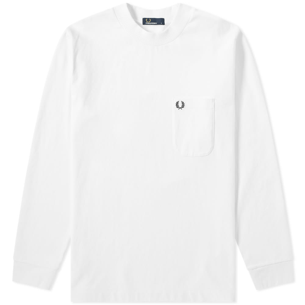 786aaa1b1602 Fred Perry Long Sleeve High Neck Tee Snow White | END.
