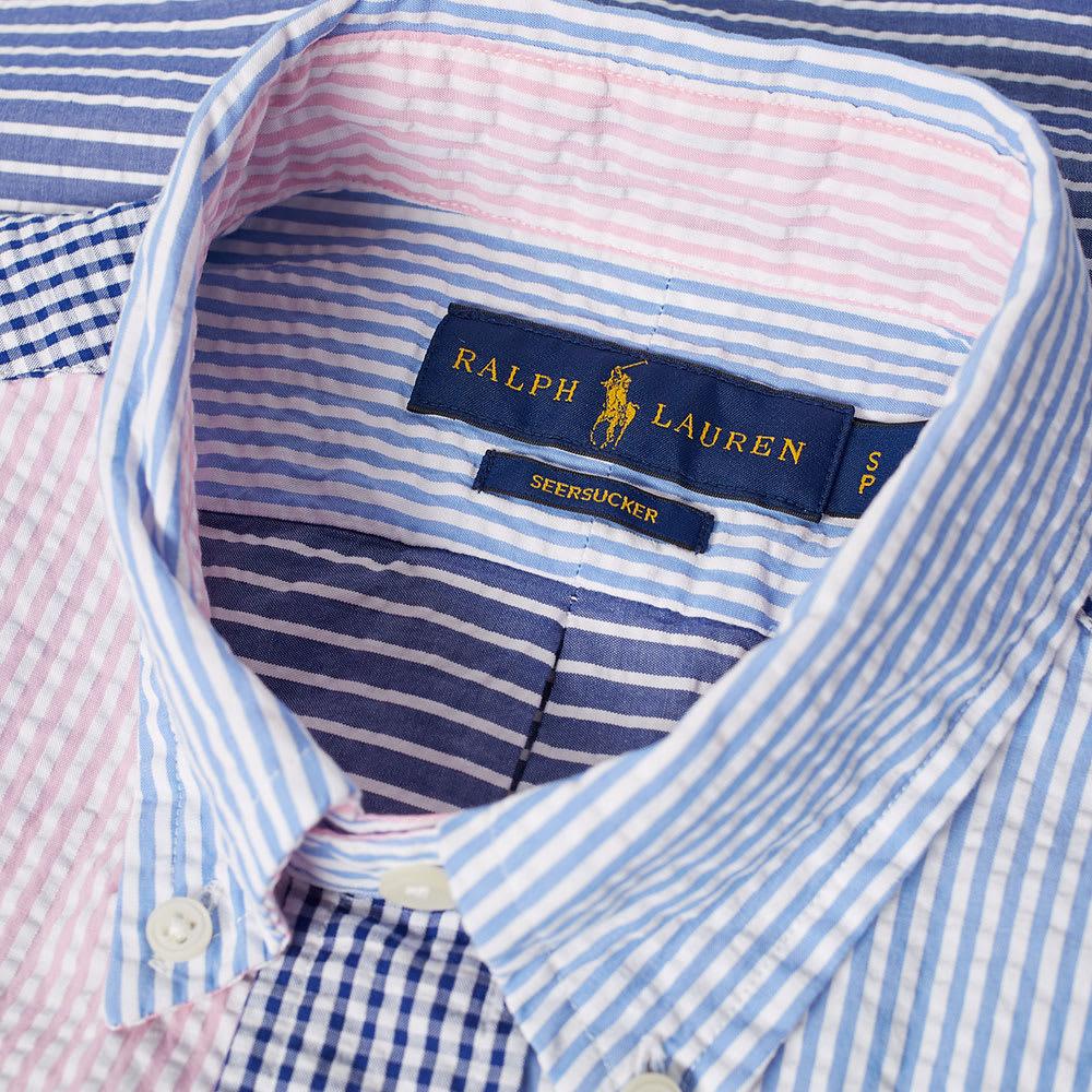 fba8287a2 Polo Ralph Lauren Short Sleeve Seersucker Button Down Shirt. White   Navy