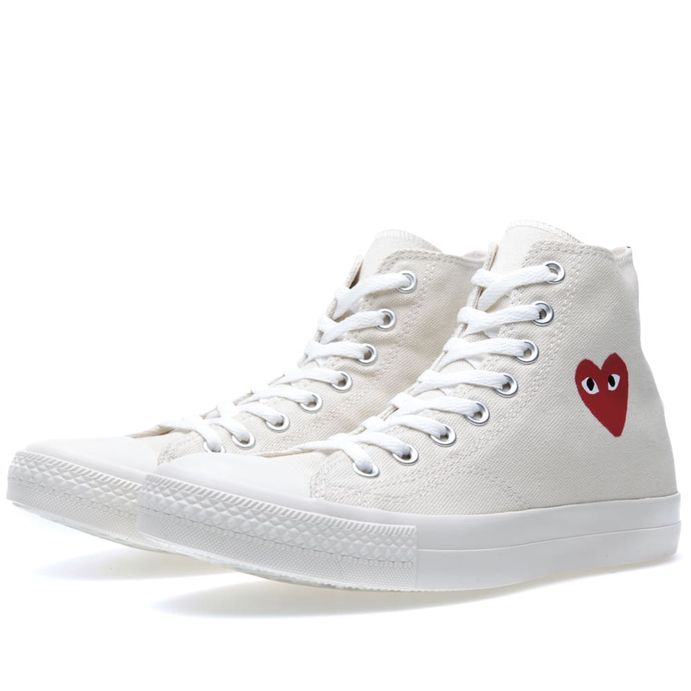 comme des garcons play x converse all star hi white red. Black Bedroom Furniture Sets. Home Design Ideas
