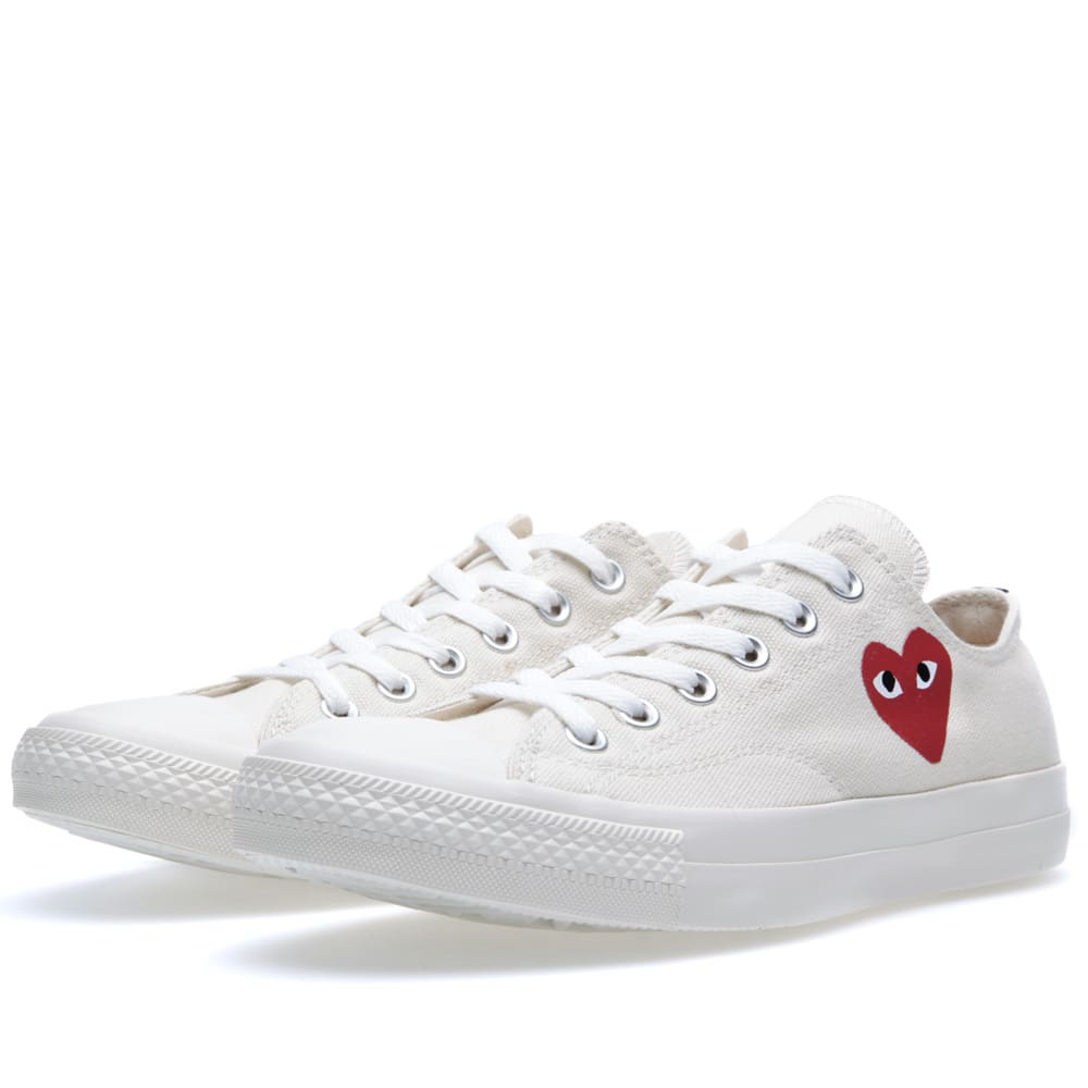 comme des garcons play x converse all star ox white red. Black Bedroom Furniture Sets. Home Design Ideas