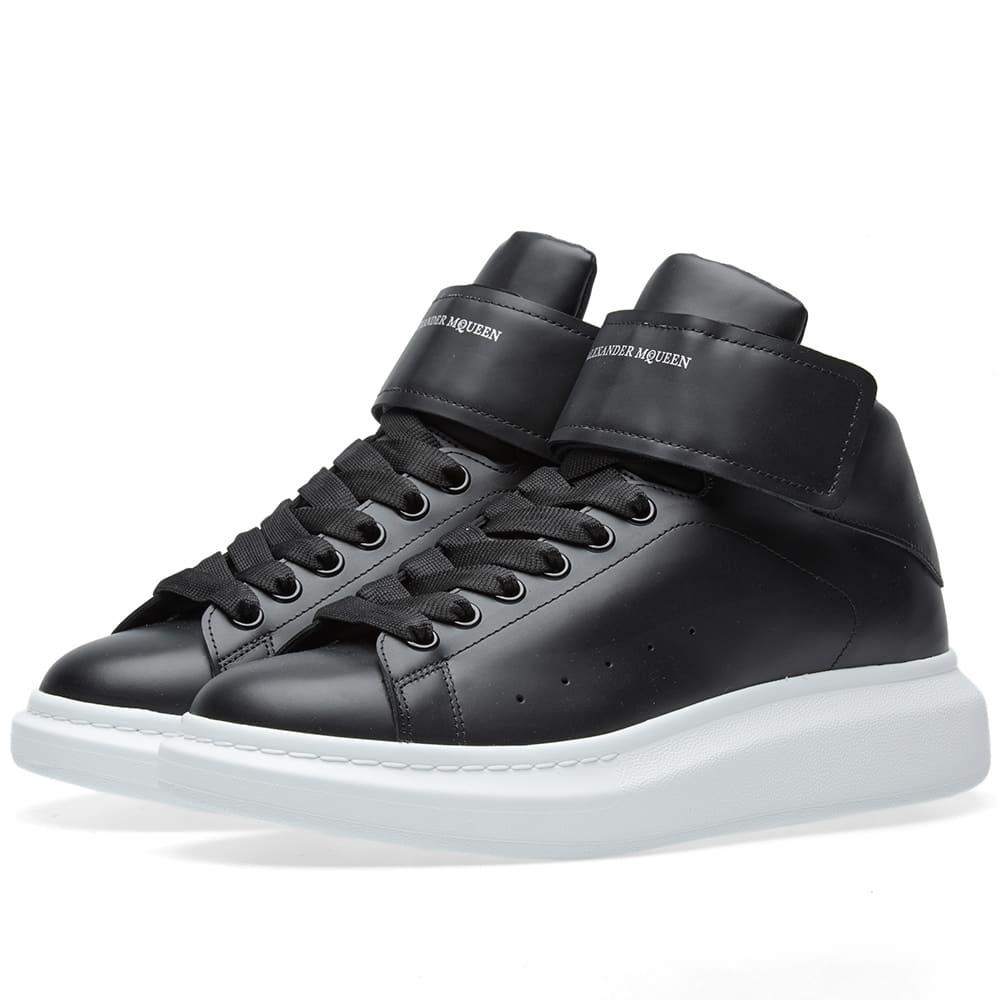 new design good quality exclusive range Alexander McQueen Wedge Sole Strap High Sneaker Black | END.