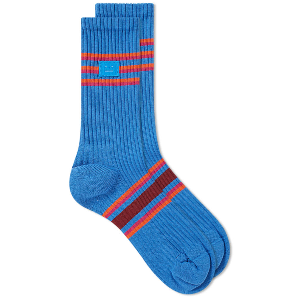97556fdfe7b Acne Studios Face Rib Sock Blue Multicolor